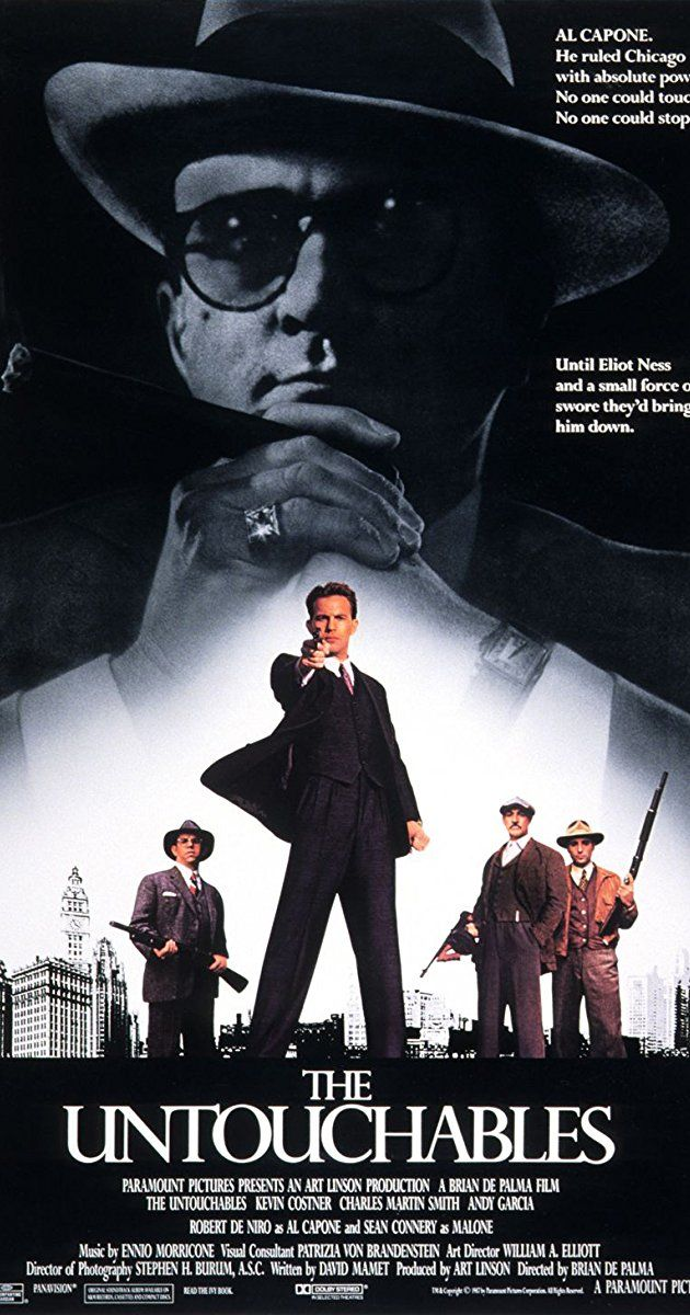 After building an empire with bootleg alcohol, legendary crime boss Al Capone (Robert De Niro) rules Chicago with an iron fist. Though Prohibition agent Eliot Ness (Kevin Costner) attempts to take Capone down, even his best efforts fail due to widespread corruption within the Windy City's police force. Recruiting an elite group of lawmen who won't be swayed by bribes or fear, including Irish-American cop Jimmy Malone (Sean Connery), Ness renews his determination to bring Capone to justice.