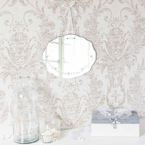 Miroir gravé H 30 cm HORTENSE