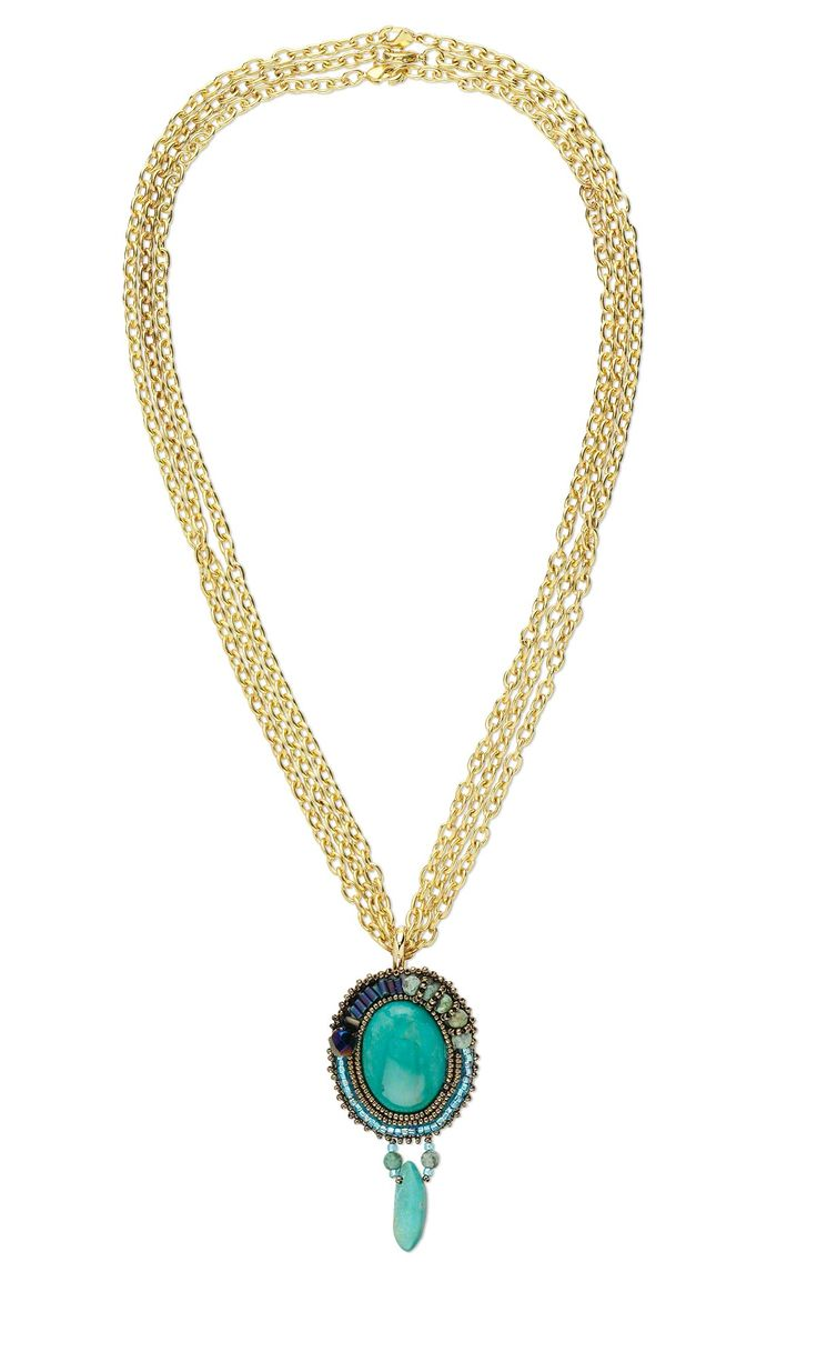 Jewelry Design - Triple-Strand Necklace with Embroidered Brooch/Pendant and Gold Chain - Fire Mountain Gems and Beads