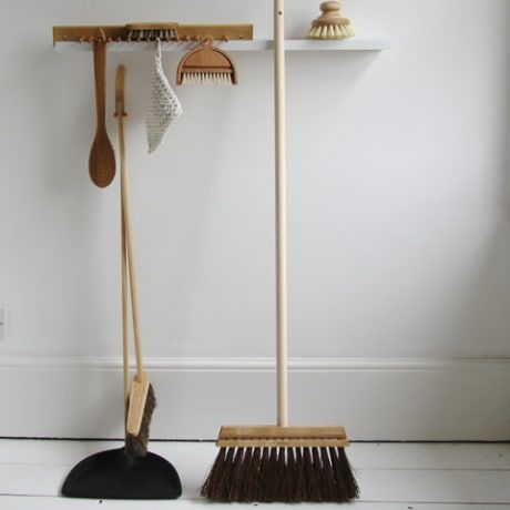 Iris Hantverk's bestselling signature product. This beautifully designed dustpan and brush set combines aesthetics with expert craftmanship to make a great looking, practical cleaning tool. Made from oil treated beechwood with horsehair bristles. 88cm tall Available in black Iris Hantverk's brushes are made at his world famous workshops by expert craftsmen, who also happen to be visually impaired, following a Swedish tradition lasting over 100 years.