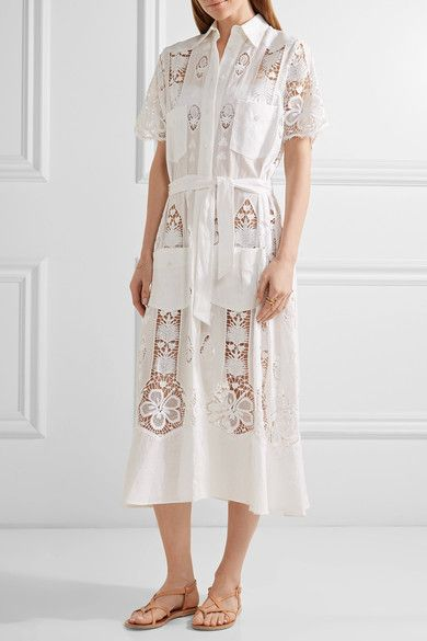 Miguelina - Berly Broderie Anglaise Cotton And Linen Midi Dress - White - x small
