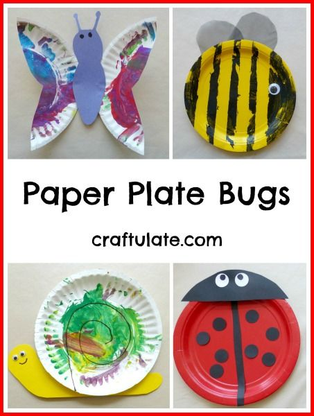 Paper Plate Bugs - a fun craft for little kids! Ladybug, snail, butterfly and a bee!
