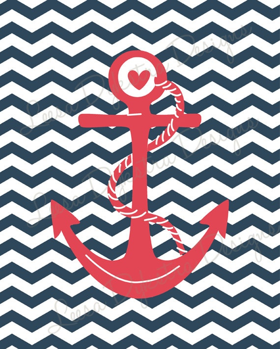 Chevron Nautical Anchor Wall Art Printable by ...