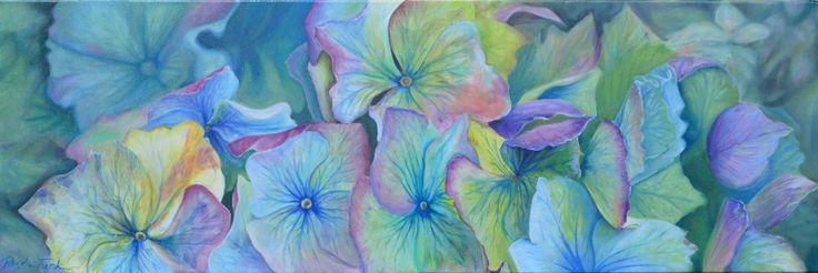 Hydrangea oil on canvas, 200mm x 910 mm. Ronda Turk artist Studio 202. #stillife #painting #art
