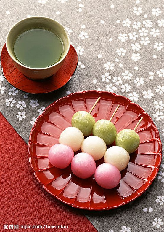 """Sanshoku Dango"" = Three-colored rice dumplings, a very popular snack to go with your green tea. A must-have item for hanami!"