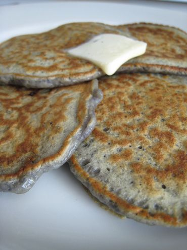 PURPLE UBE PANCAKES ~ INGREDIENTS ~ Yield: 10-12 pancakes  1 cup all-purpose flour 1 teaspoon baking soda 1/2 teaspoon salt 2 cups buttermilk 1 egg, lightly beaten 1 cup grated purple yam (frozen Ube can be found in Asian markets) ~~