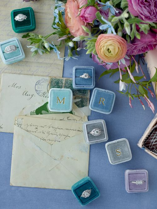 Lovely gold monogrammed ring boxes made from antique velvet | The Mrs. Box