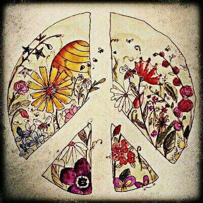 peace sign with flowers