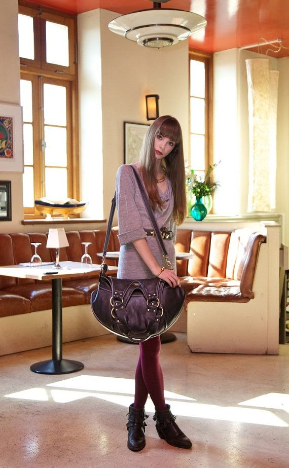 New Handmade Aubrey leather Tote, Real leather, cow hide leather.. $379,00, via Etsy.