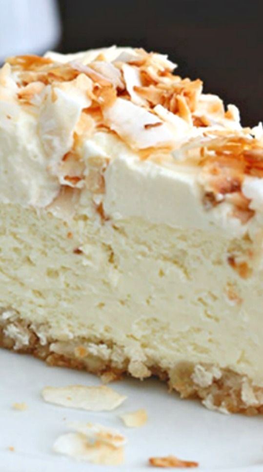 Coconut Cheesecake with Macadamia Nut Crust Recipe ~ Creamy low carb coconut cheesecake with a delicious gluten-free macadamia nut crust.