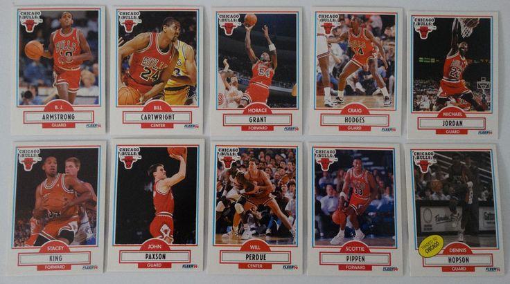 1990-91 Fleer Chicago Bulls Team Set Of 10 Basketball Cards #ChicagoBulls
