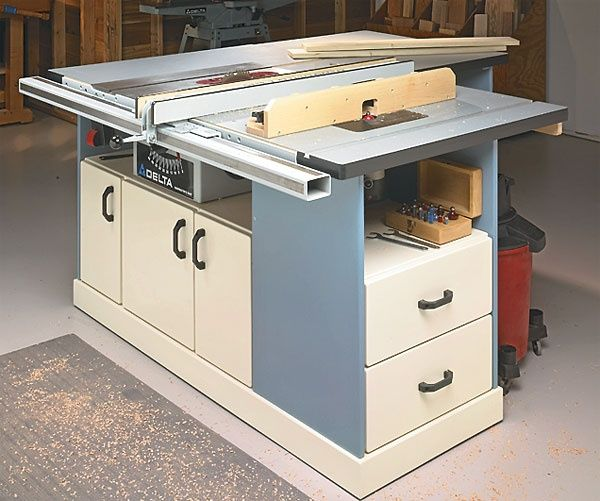 110 best images about small workshop storage ideas on for Table saw cabinet plans free