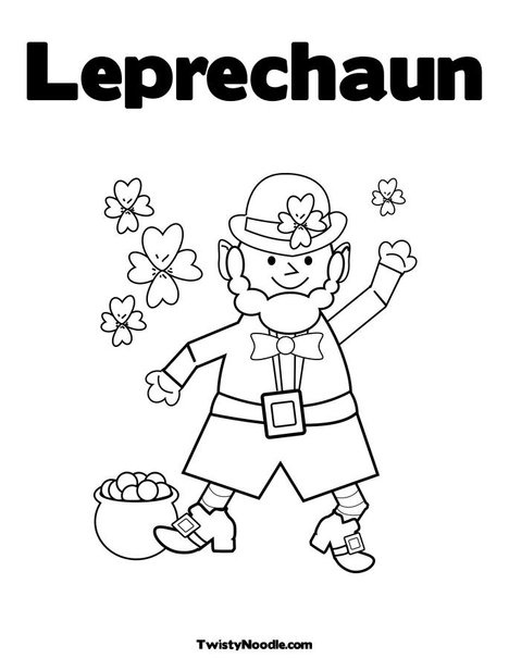 Leprechaun Coloring Page From TwistyNoodle