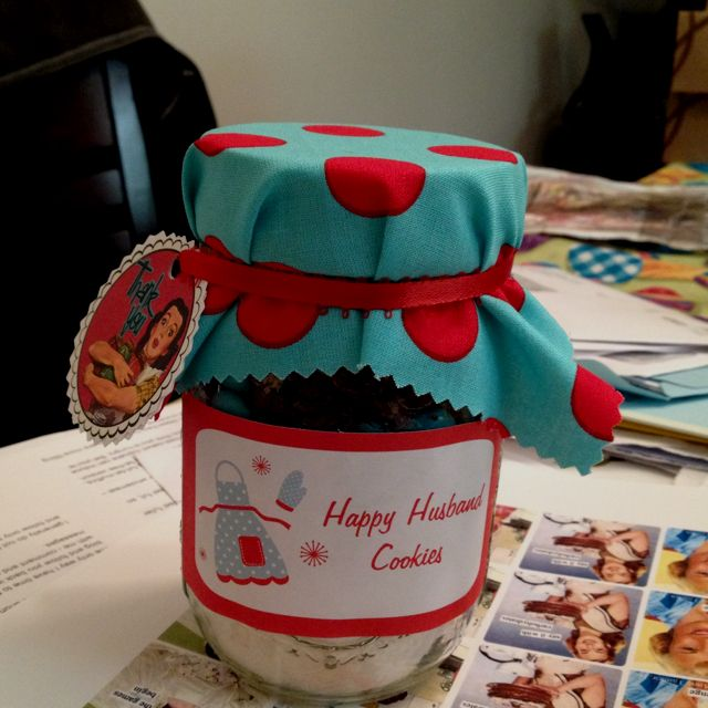 Cookie Mix in a jar favors for my 50's housewife bridal shower