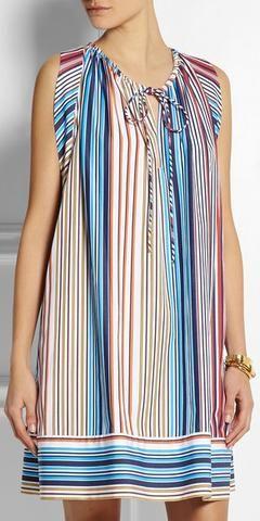 Striped Silk Dress-Multicolor