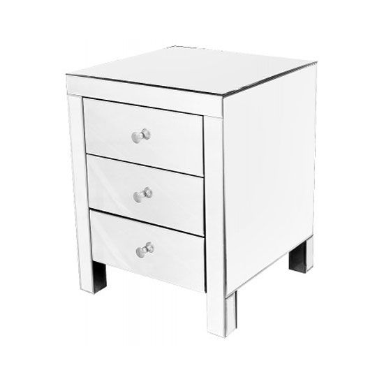 beautifully crafted to match your stylishhome the mirrored 3 drawer bedside cabinet is - Cheap Mirrored Furniture