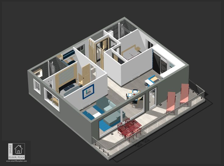 Kinsale Apartment 3D Floor Plan. Ireland