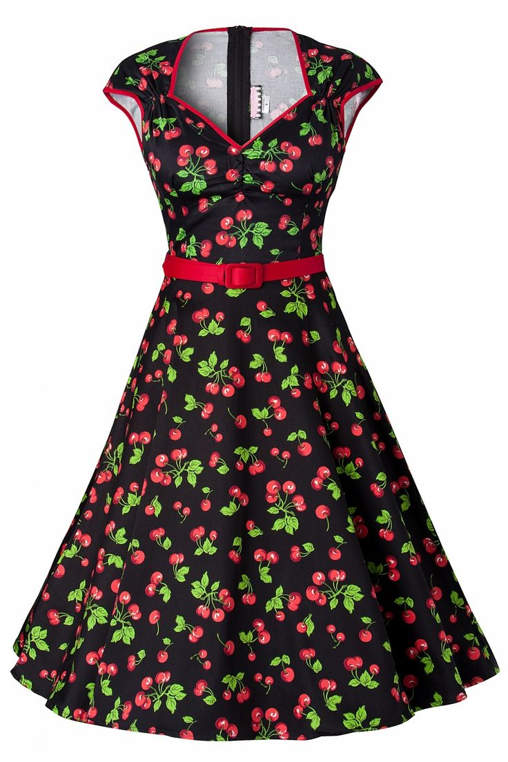 Pinup Couture - PINUP COUTURE retro Heidi Black Cherry Swing dress  $133