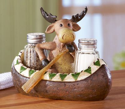 Canoe Moose Salt and Pepper Holder Decoration. Designed exclusively here - you can't find this anywhere else!