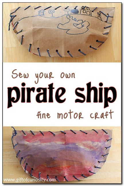 Sew your own pirate ship fine motor craft #pirates #finemotor || Gift of Curiosity