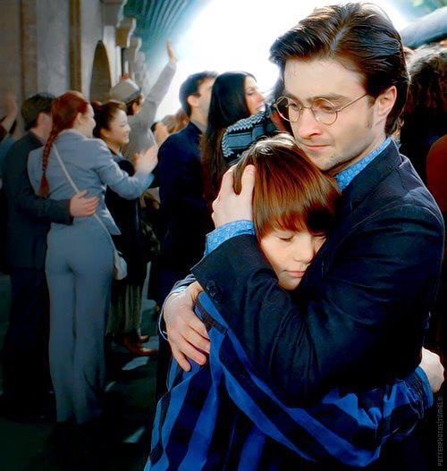 I just realized that this is the same hug Sirius gives Harry in Order of the Phoenix...