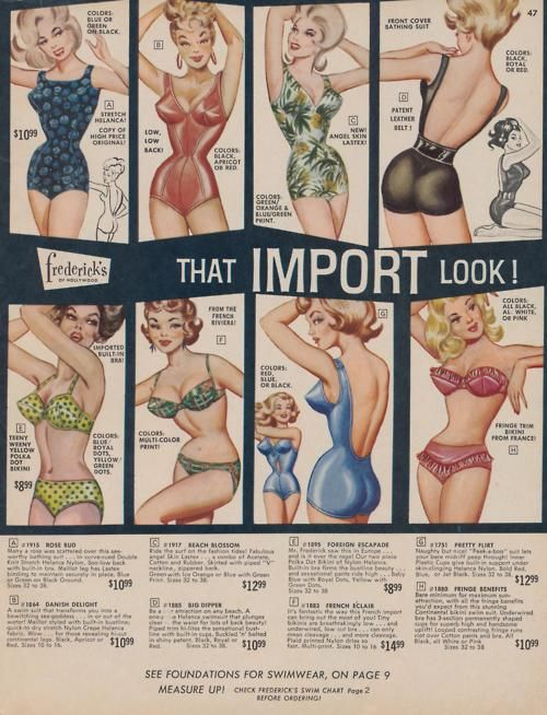 "1940s - The top right suit comes with a patent leather belt!  Look at the bottom of the page.  Where on earth would the ""foundations for bathing suits"" go?"