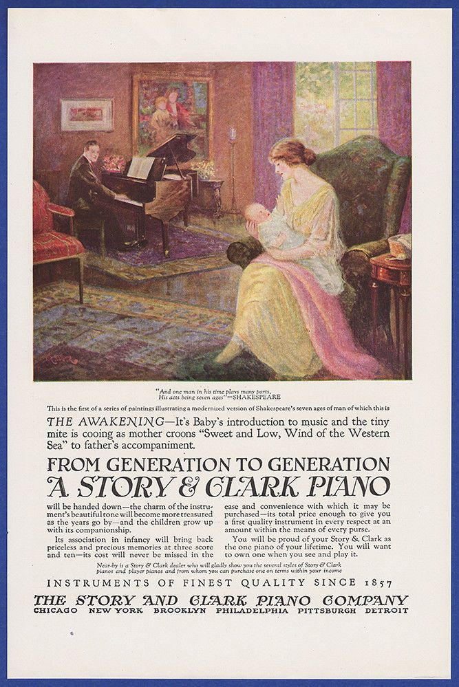 Vintage 1923 STORY & CLARK Piano Music Instrument Print Ad 20's #StoryClark