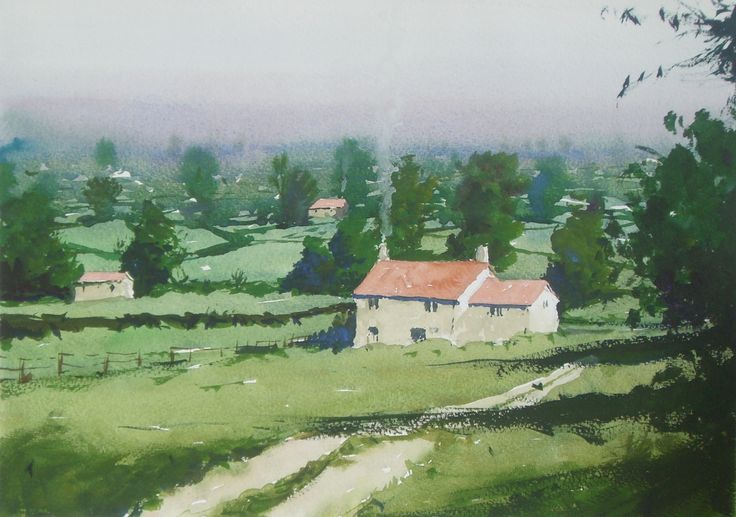 #Watercolour of an English #cotswold scene
