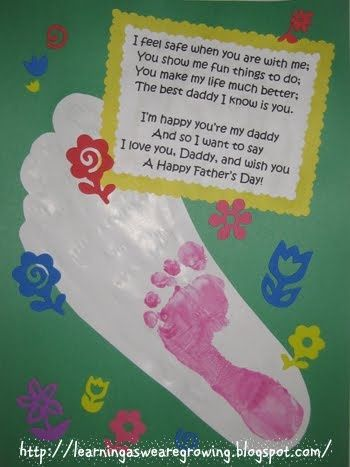 Learning As We Grow Fathers Day Foot Print With Poem Craft Easy