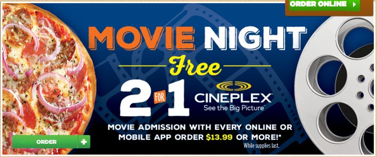 Pizza Pizza Canada Offers: 2 for 1 Cineplex Movie Admission with Every Online or Mobile App Order of $13.99! http://www.lavahotdeals.com/ca/cheap/pizza-pizza-canada-offers-2-1-cineplex-movie/177063?utm_source=pinterest&utm_medium=rss&utm_campaign=at_lavahotdeals
