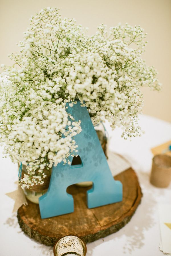 Rustic / Shabby Chic Baby Shower Decor Ideas - love this centerpiece with baby's breath!