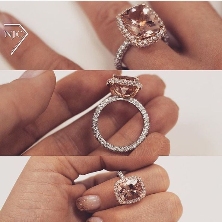 "Im not big on the ""halo"" but LOVE that band! Morganite engagement ring"