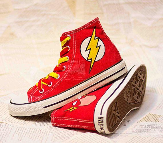 Flash DC Comics Converse Chucks Custom Painted Shoes Print Hand Painted Shoes Canvas Shoes Hi-Top Handmade