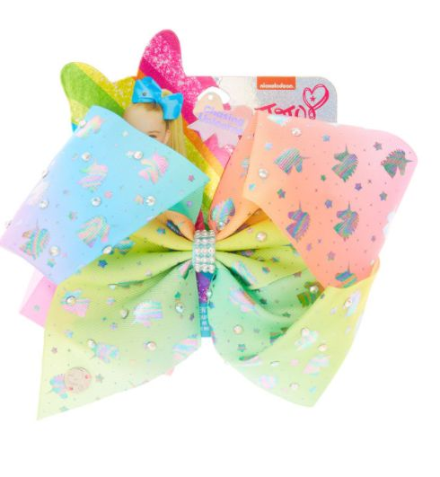 Combine your love of unicorns and JoJo Siwa with this rainbow unicorn bow! The pastel rainbow coloured bow features a holographic unicorn print covered in iridescent rhinestones with clear rhinestones in the centre. For truly magical hair!