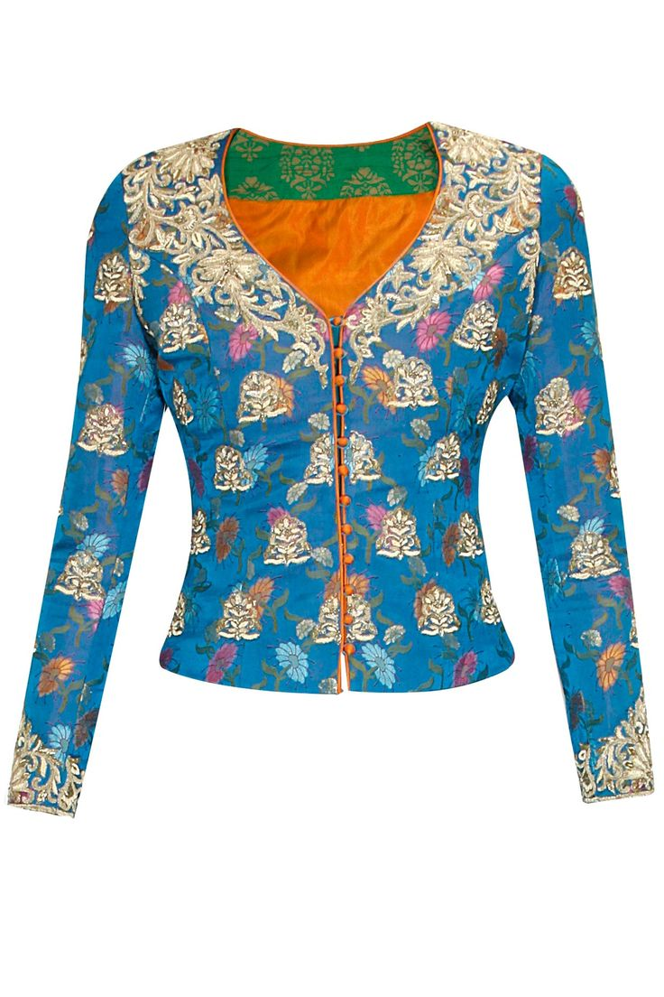 Blue floral brocade embroidered jacket available only at Pernia's Pop Up Shop..#perniaspopupshop #shopnow #festive #krishnamehta#clothing #newcollection #happyshopping