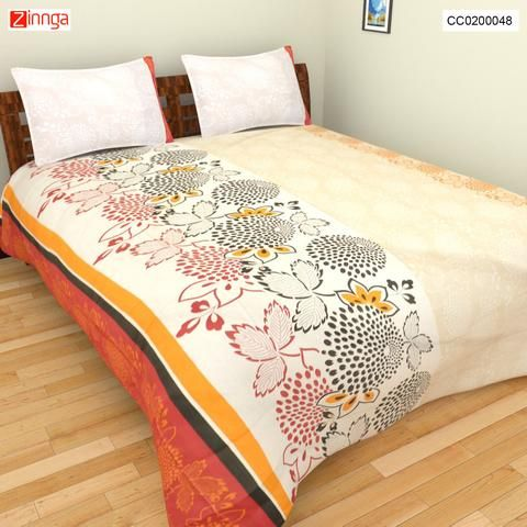 CLICK CORPORATION-Beautiful Multi Color Geometric Cotton BedSheet With Two Pilows - CC0200048
