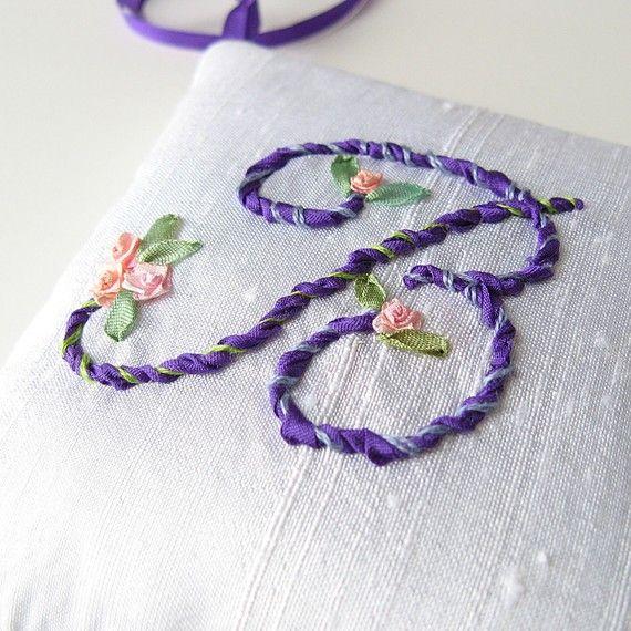 Letter B - Lavender Sachet, monogrammed silk ribbon embroidery...from bstudio, Toronto, Ontario,