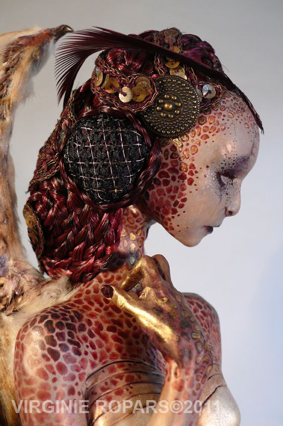 Virginie Ropars dolls - Look at seperate Elements. Patterns, colours, hair, shapes.