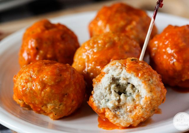 Blue Cheese Stuffed Buffalo Meatballs | Inspired by Charm