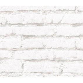 Vliesbehang Steenmotief creme bij Behangwebshop  20EUR