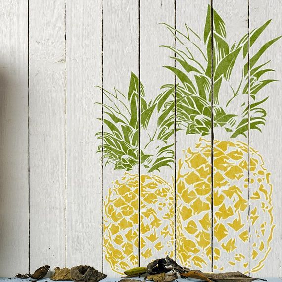 stencil pineapple painting floor furniture tropical fruit craft