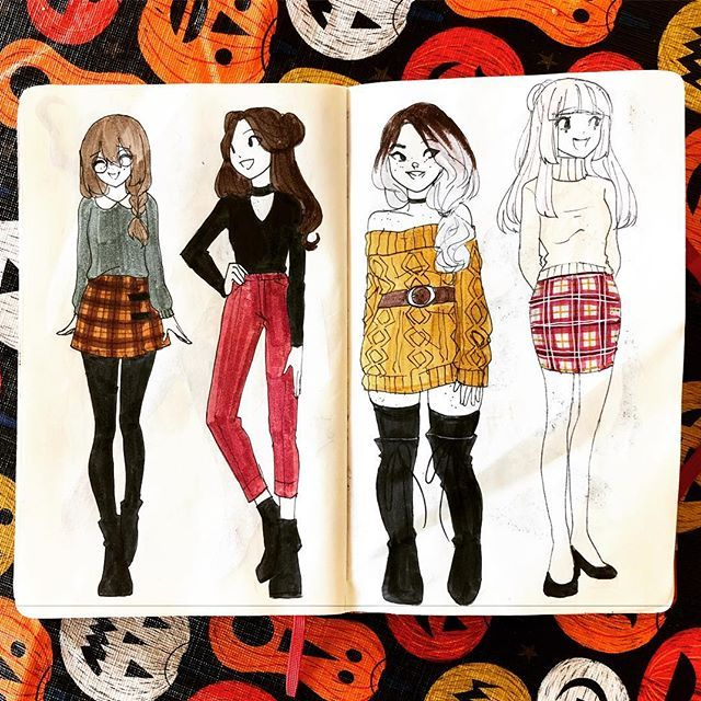 Drew some OCs in fall fashion! Edith (middle right) and Adley (middle left) belong to @burninlikevernon . ❓what's your favorite fall activity? Mine is going to pumpkin patches/farms . . [#lemonpoppyseedmuffin #lpsm_oc #lpsm_fashion #fashion #fall #fallfashion #outfits #myart #sketchbook #doodle #fashionillustration #illustration #fashiondesign #autumn ]