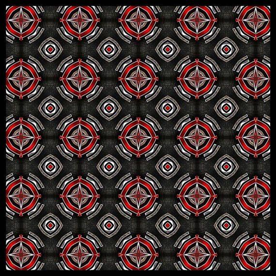 Black/Red etnic pattern scarf/wrap Foulard carré 140 cm