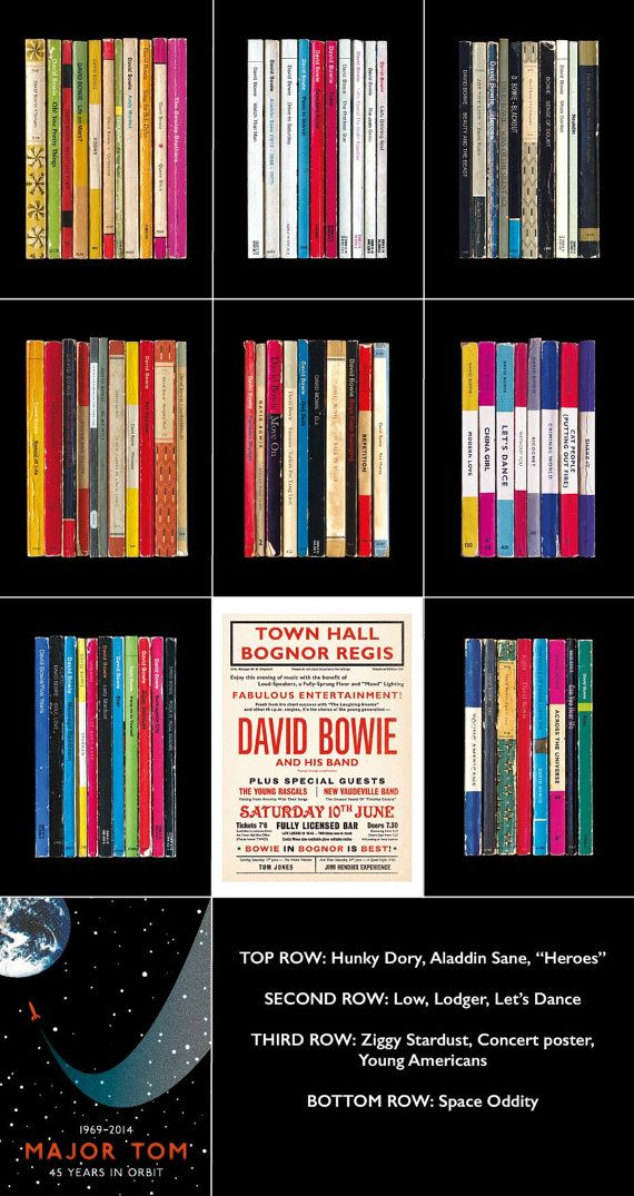Heres a special offer: you can buy any 4 of my David Bowie prints for the price of 3 with FREE SHIPPING with this listing.  You can choose from Hunky Dory, Ziggy Stardust, Aladdin Sane, Low, Heroes, Lodger, Lets Dance, Young Americans, the special edition Space Oddity 40th anniversary print, and the Bowie In Bognor concert poster. (Just remember to tell me which prints youd like in the Note to Seller box at the Etsy checkout).  You can also buy the prints individually via these links:  Hunky…