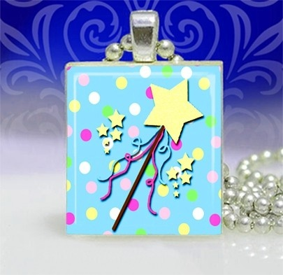 Magic Wand scrabble tile pendant by SnarkyandSweet on Etsy, $5.00