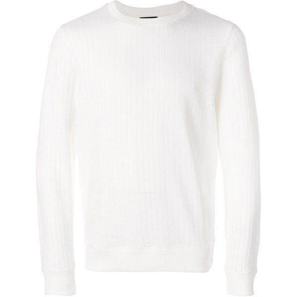 A.P.C. ribbed jumper ($225) ❤ liked on Polyvore featuring men's fashion, men's clothing, men's sweaters, white, mens cotton sweaters, mens white sweater and mens ribbed sweater