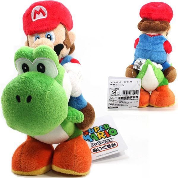 Super Mario Bros. Mario Riding On Yoshi Plush
