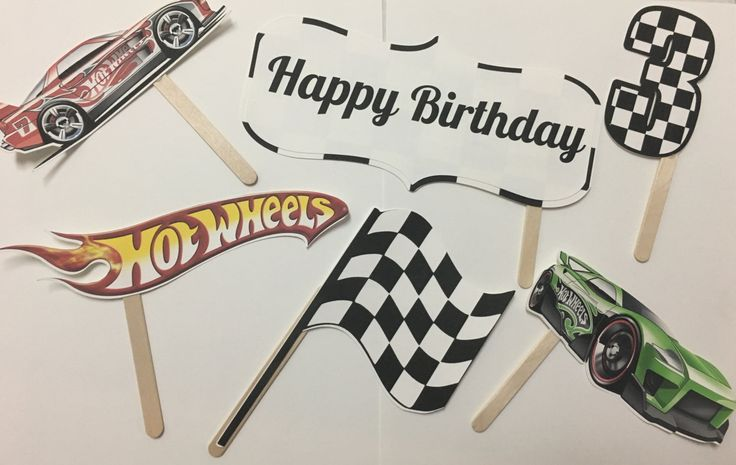 Throwing a Hot Wheels themed birthday party? We have just the thing to really make your party special!   This package includes eight different items, all made by hand out of high-quality cardstock, secured with a wooden dowel for holding. Includes: *2 Helmets in Red and Blue (For a color change please put it in the note section of your order and I will do my best to accommodate you) *1 Flag *1 Hot Wheels Logo *2 Hot Wheels cars (these cars are not changeable) *1 Number of your choice (please…