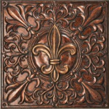 Fleur de lis design wall decor with stamped corners and antique gold and copper finish, iron