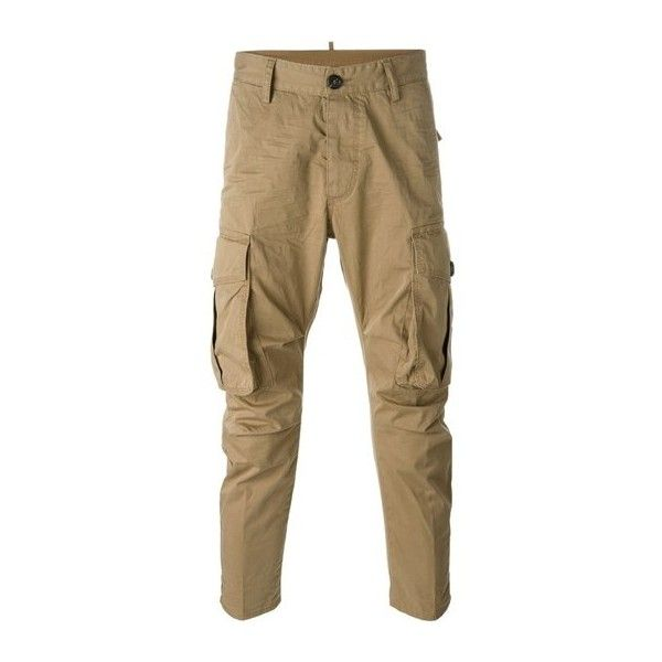 DSQUARED2 Tapered Cargo Trousers ($658) ❤ liked on Polyvore featuring men's fashion, men's clothing, men's pants, men's casual pants, men, pants, beige, mens cropped pants, mens elastic waistband pants and mens cotton pants